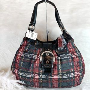❤️🖤New COACH ❤️🖤 F15487 Red Black Tartan LG Hobo
